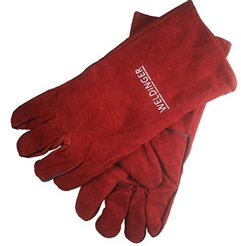 WELDINGER Schweißhandschuhe rot Gr.10 mit Stulpen Spaltleder...
